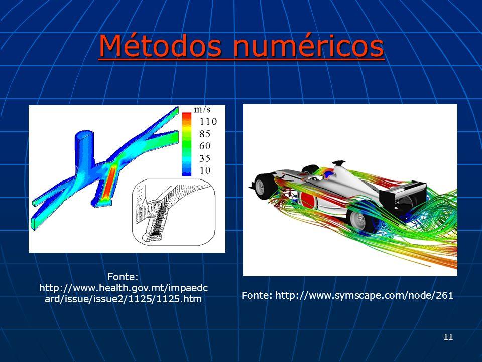 11 Métodos numéricos Fonte: http://www.health.gov.mt/impaedc ard/issue/issue2/1125/1125.htm Fonte: http://www.symscape.com/node/261