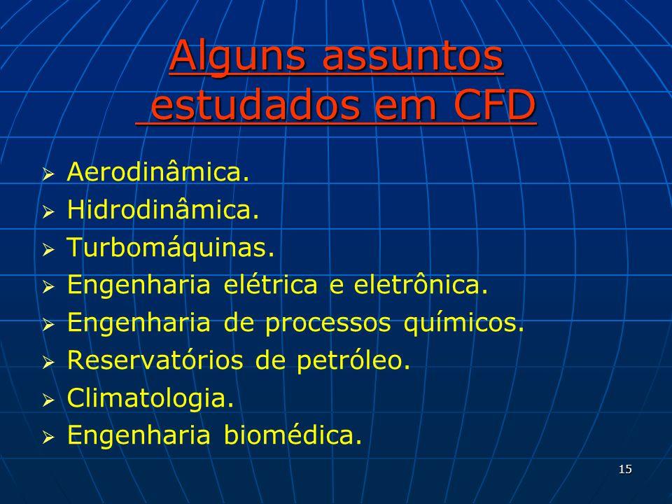 15 Alguns assuntos estudados em CFD Aerodinâmica. Hidrodinâmica. Turbomáquinas. Engenharia elétrica e eletrônica. Engenharia de processos químicos. Re