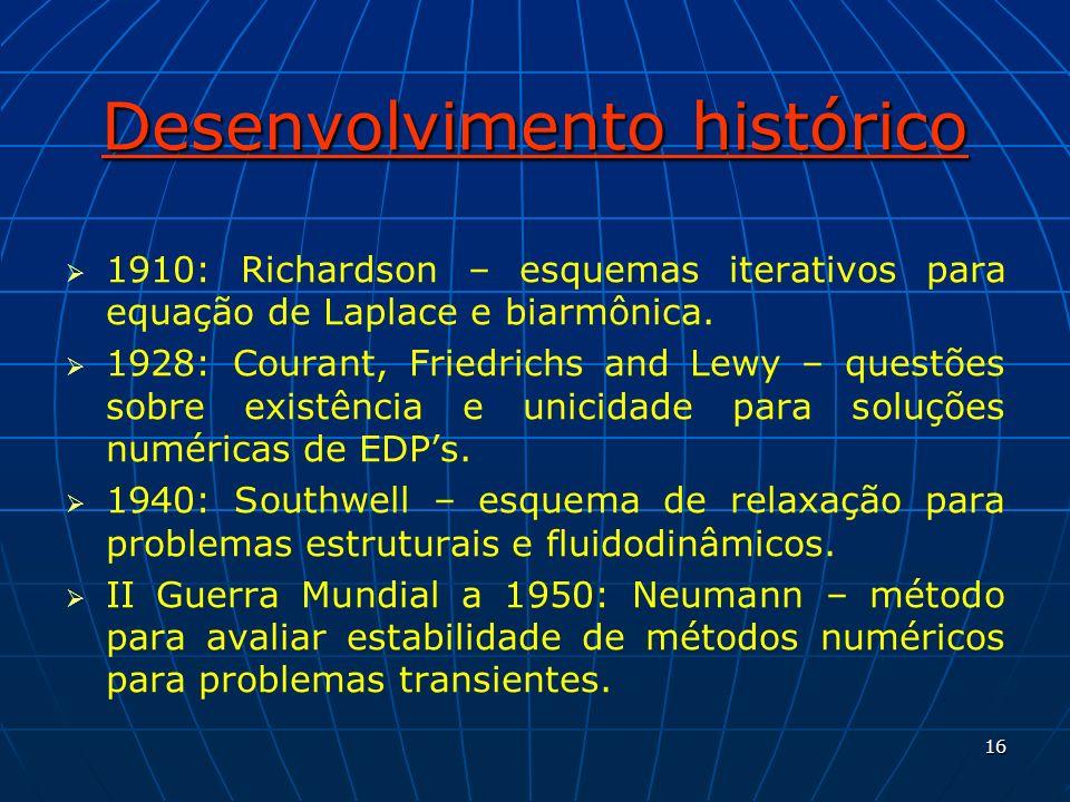 16 Desenvolvimento histórico 1910: Richardson – esquemas iterativos para equação de Laplace e biarmônica. 1928: Courant, Friedrichs and Lewy – questõe