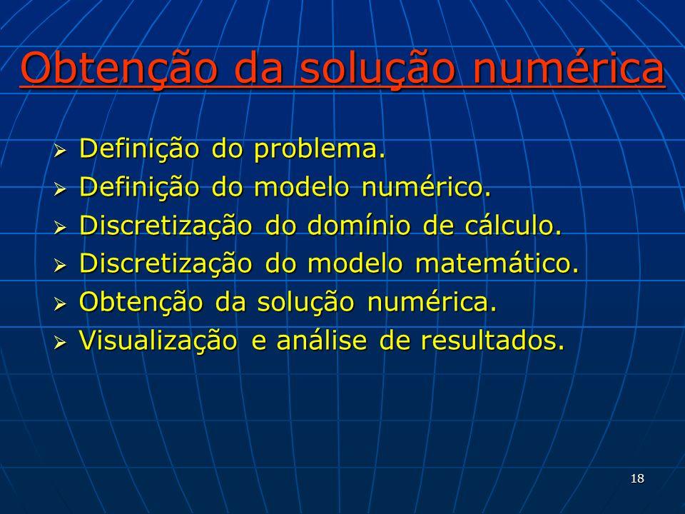 18 Obtenção da solução numérica Definição do problema. Definição do problema. Definição do modelo numérico. Definição do modelo numérico. Discretizaçã