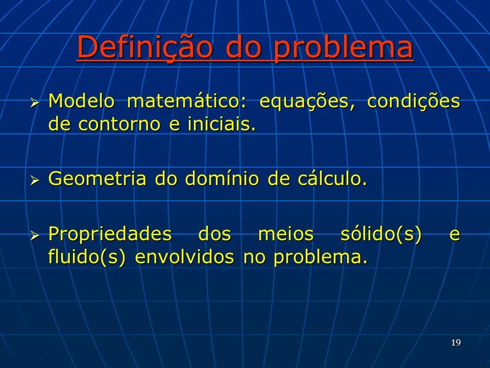 19 Definição do problema Modelo matemático: equações, condições de contorno e iniciais. Modelo matemático: equações, condições de contorno e iniciais.