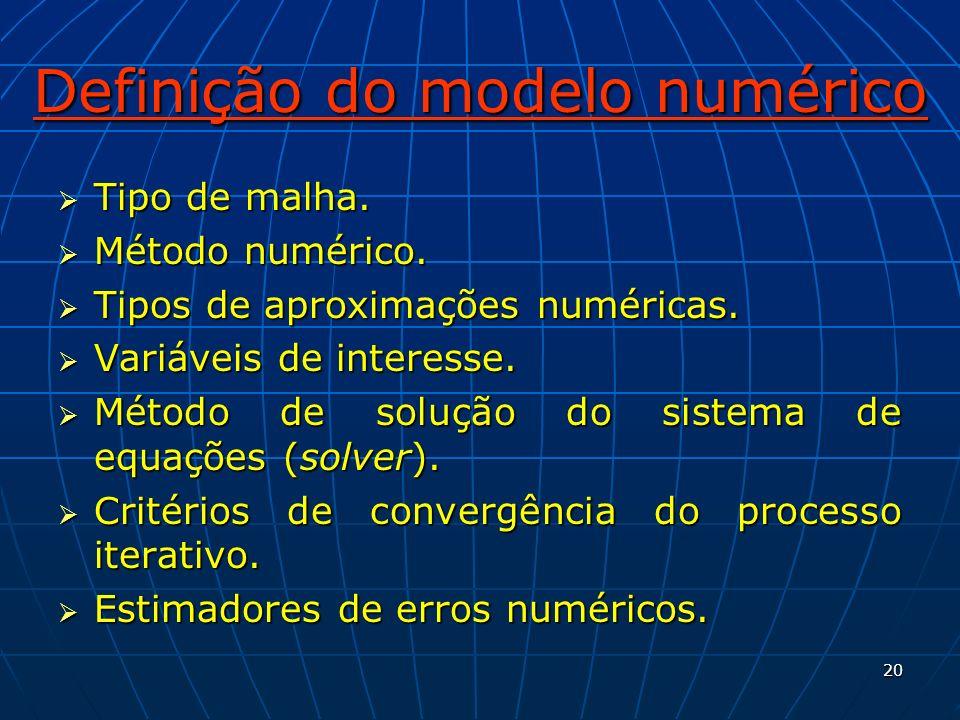 20 Definição do modelo numérico Tipo de malha. Tipo de malha. Método numérico. Método numérico. Tipos de aproximações numéricas. Tipos de aproximações