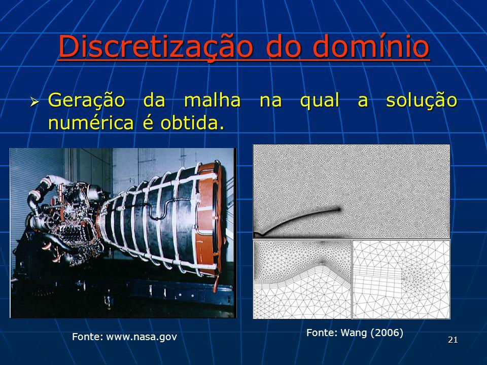 21 Discretização do domínio Geração da malha na qual a solução numérica é obtida. Geração da malha na qual a solução numérica é obtida. Fonte: www.nas