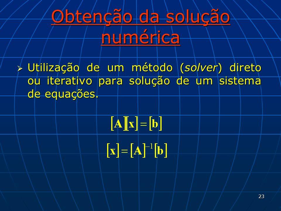 23 Obtenção da solução numérica Utilização de um método (solver) direto ou iterativo para solução de um sistema de equações. Utilização de um método (