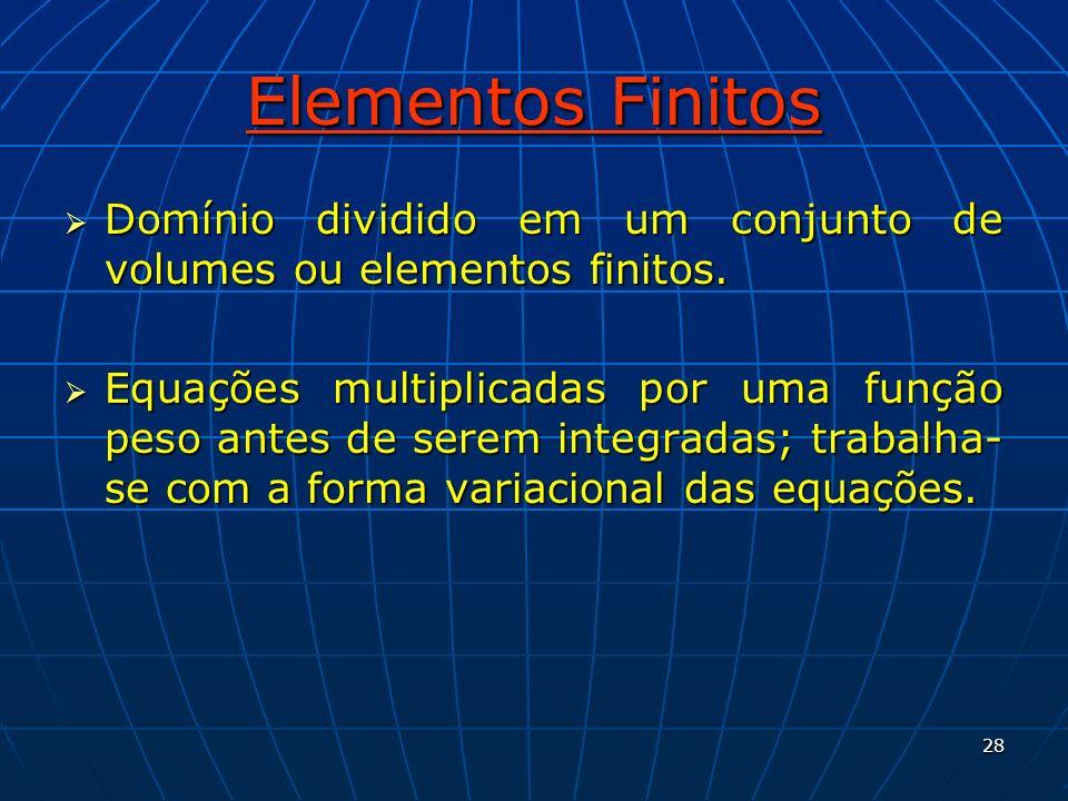 28 Elementos Finitos Domínio dividido em um conjunto de volumes ou elementos finitos. Domínio dividido em um conjunto de volumes ou elementos finitos.