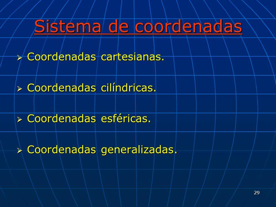 29 Sistema de coordenadas Coordenadas cartesianas. Coordenadas cartesianas. Coordenadas cilíndricas. Coordenadas cilíndricas. Coordenadas esféricas. C