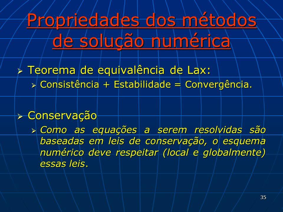 35 Propriedades dos métodos de solução numérica Teorema de equivalência de Lax: Teorema de equivalência de Lax: Consistência + Estabilidade = Convergê