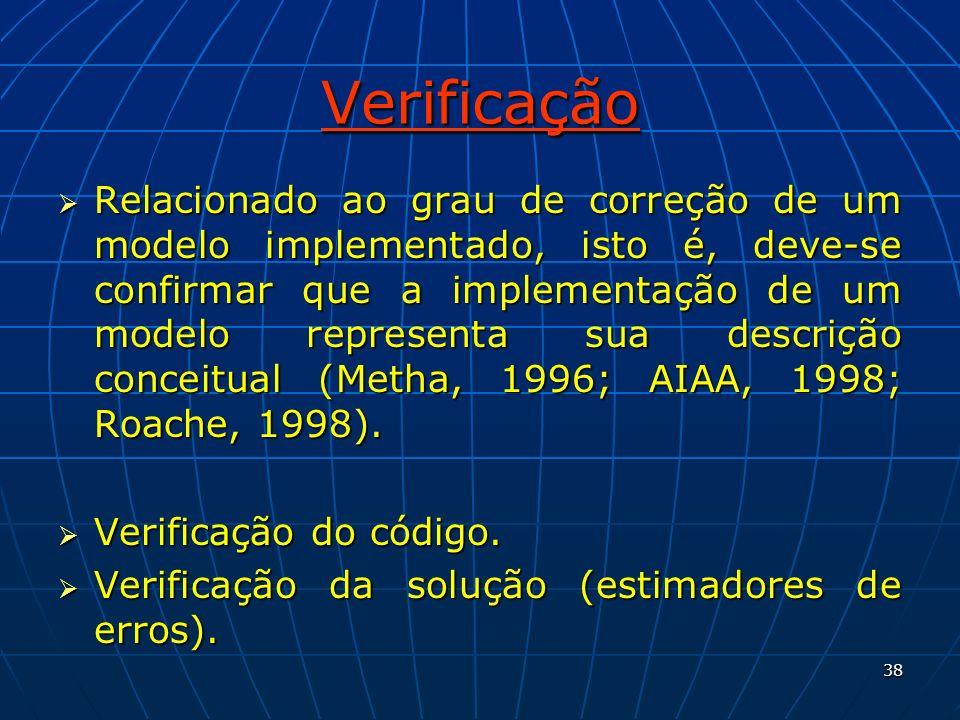 38 Verificação Relacionado ao grau de correção de um modelo implementado, isto é, deve-se confirmar que a implementação de um modelo representa sua de