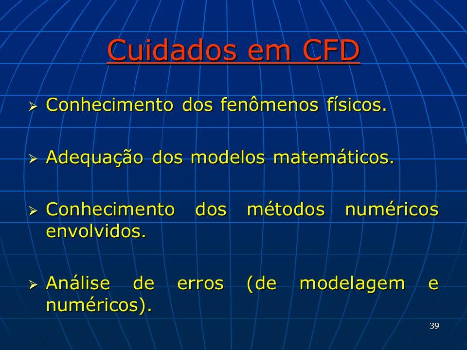 39 Cuidados em CFD Conhecimento dos fenômenos físicos. Conhecimento dos fenômenos físicos. Adequação dos modelos matemáticos. Adequação dos modelos ma