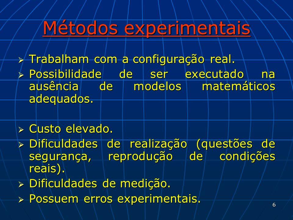 6 Métodos experimentais Trabalham com a configuração real. Trabalham com a configuração real. Possibilidade de ser executado na ausência de modelos ma