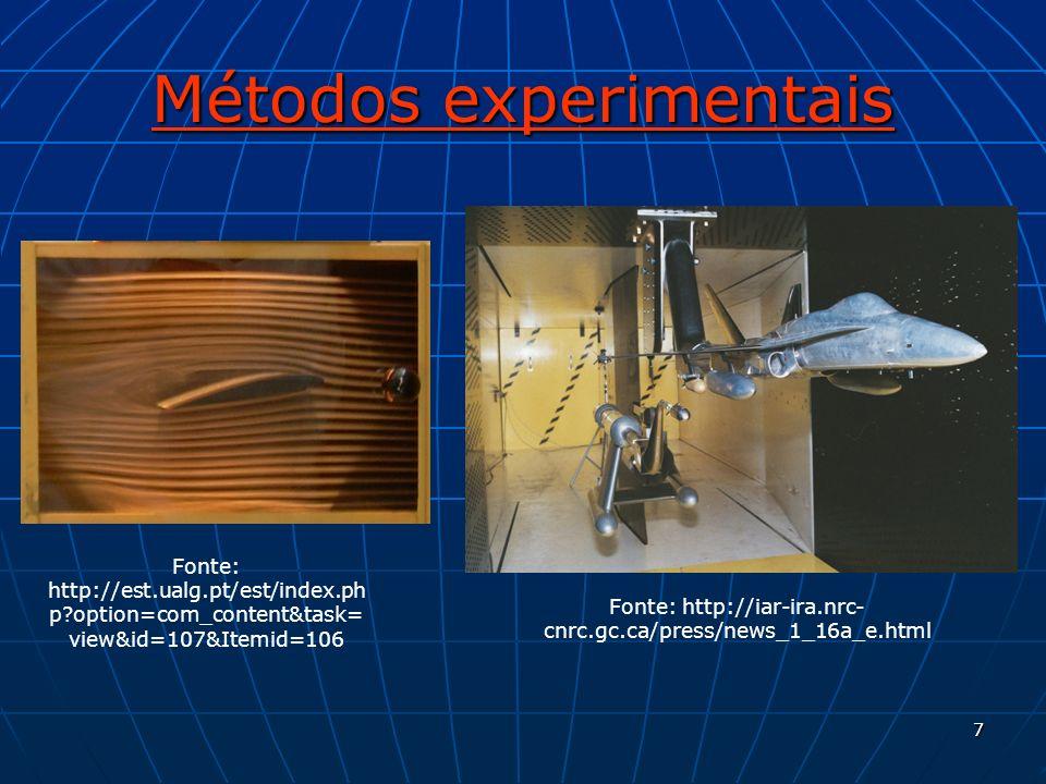 7 Métodos experimentais Fonte: http://est.ualg.pt/est/index.ph p?option=com_content&task= view&id=107&Itemid=106 Fonte: http://iar-ira.nrc- cnrc.gc.ca