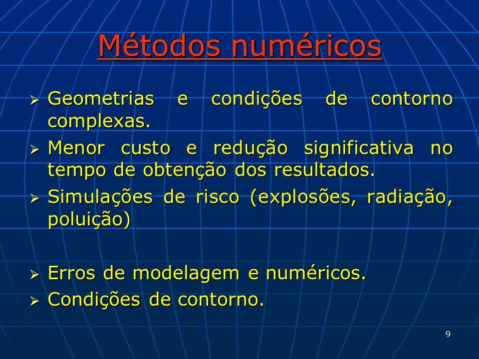 9 Métodos numéricos Geometrias e condições de contorno complexas. Geometrias e condições de contorno complexas. Menor custo e redução significativa no