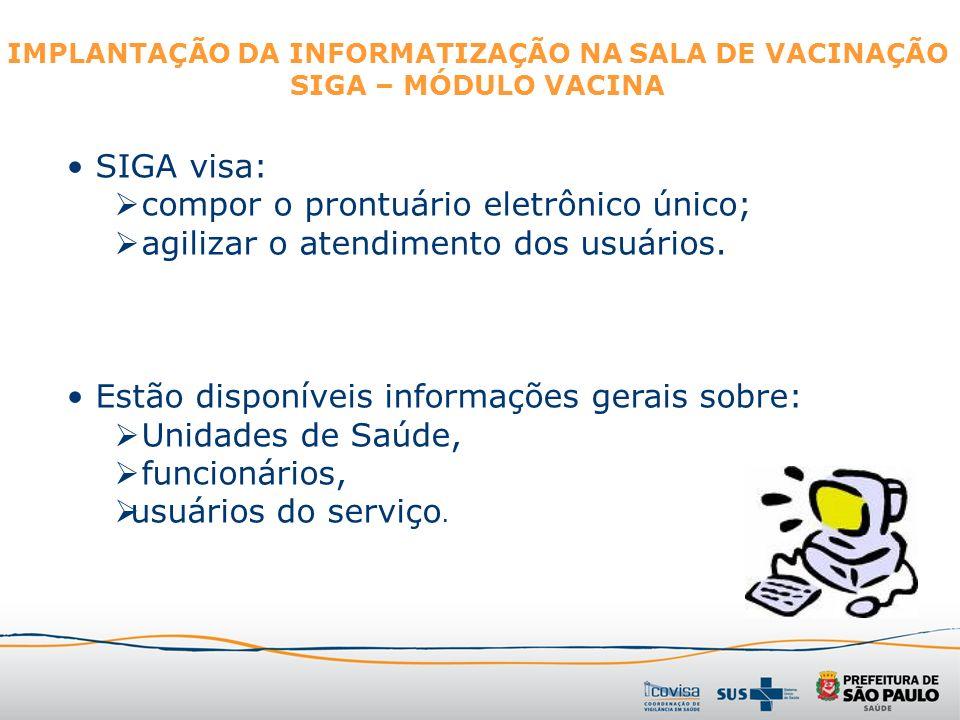MÓDULO VACINA Tem como objetivo: informatizar o registro de vacinação.