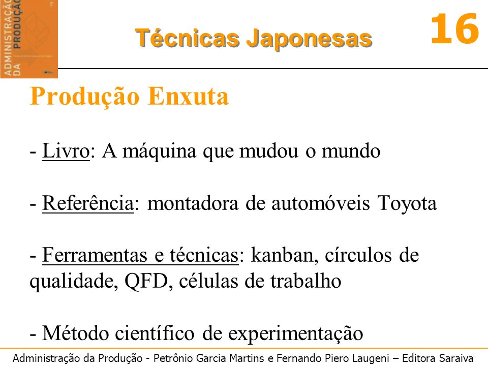 Administração da Produção - Petrônio Garcia Martins e Fernando Piero Laugeni – Editora Saraiva 16 Técnicas Japonesas Produção Enxuta - Livro: A máquin