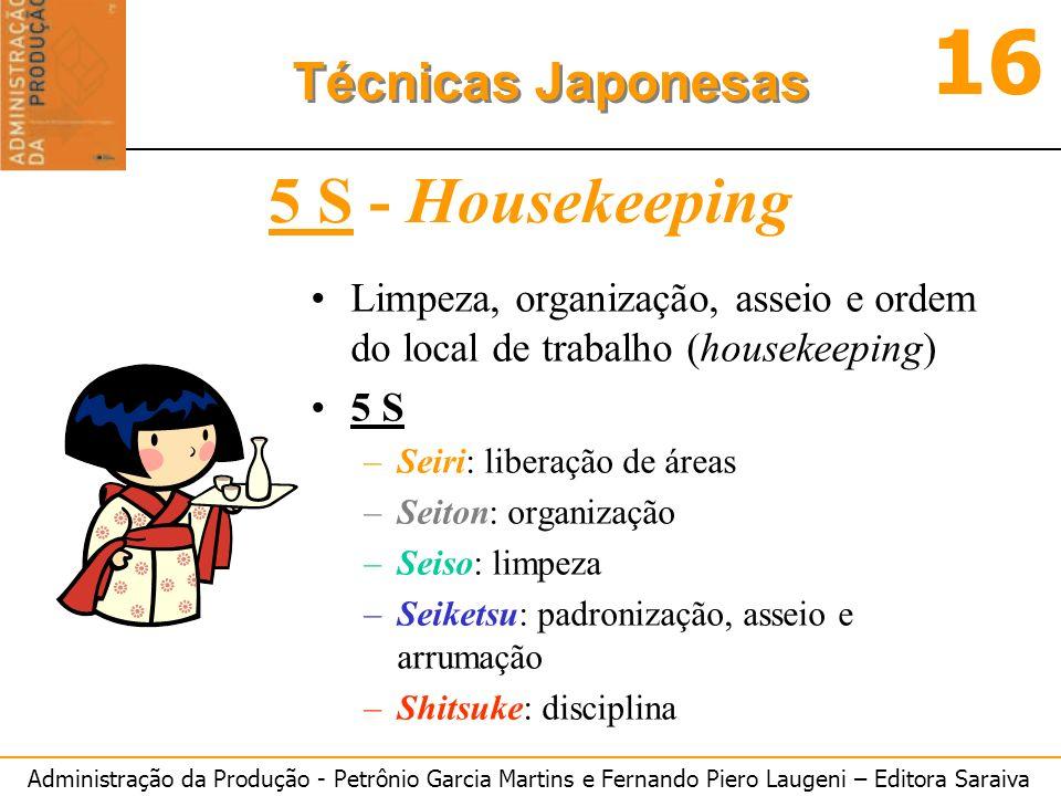 Administração da Produção - Petrônio Garcia Martins e Fernando Piero Laugeni – Editora Saraiva 16 Técnicas Japonesas 5 S - Housekeeping Limpeza, organ