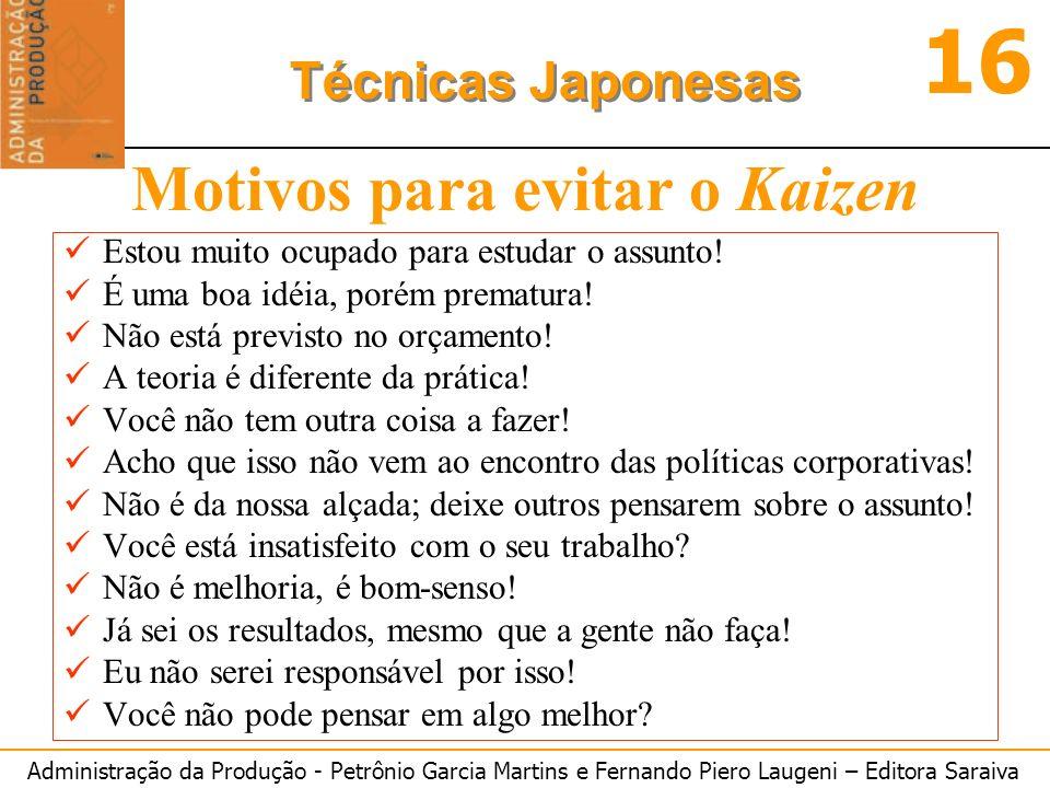 Administração da Produção - Petrônio Garcia Martins e Fernando Piero Laugeni – Editora Saraiva 16 Técnicas Japonesas Motivos para evitar o Kaizen Esto