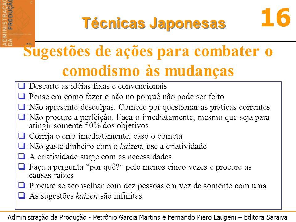 Administração da Produção - Petrônio Garcia Martins e Fernando Piero Laugeni – Editora Saraiva 16 Técnicas Japonesas Sugestões de ações para combater