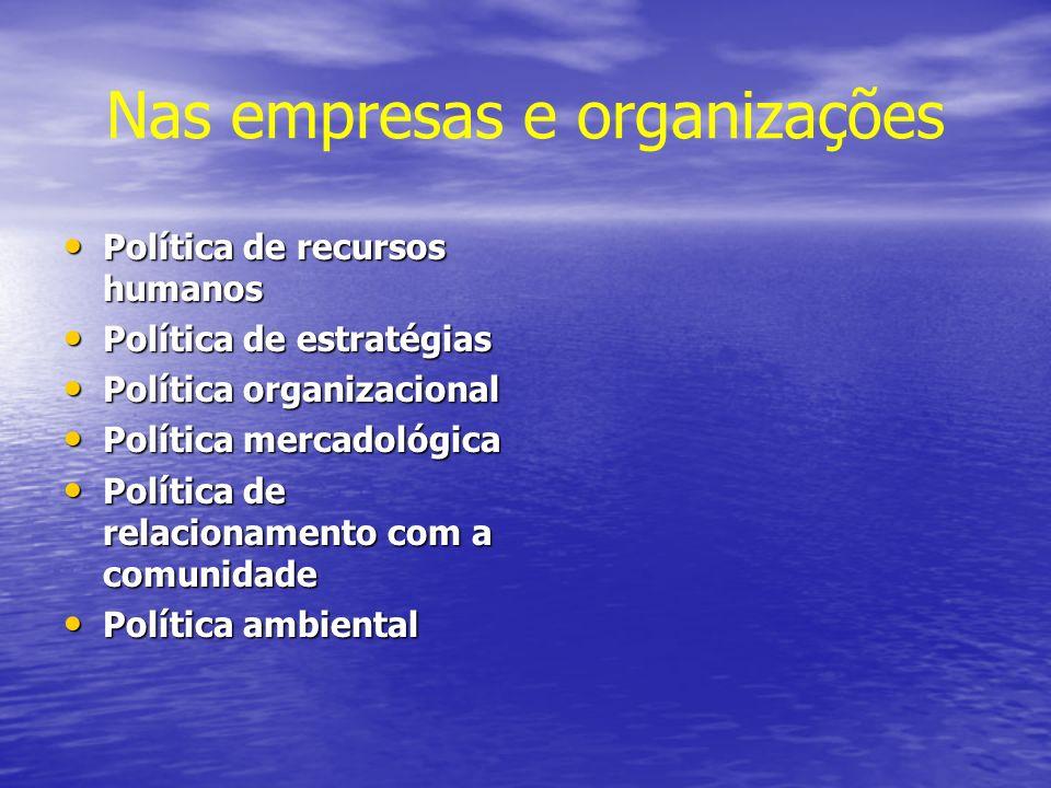 Nas empresas e organizações Política de recursos humanos Política de recursos humanos Política de estratégias Política de estratégias Política organiz