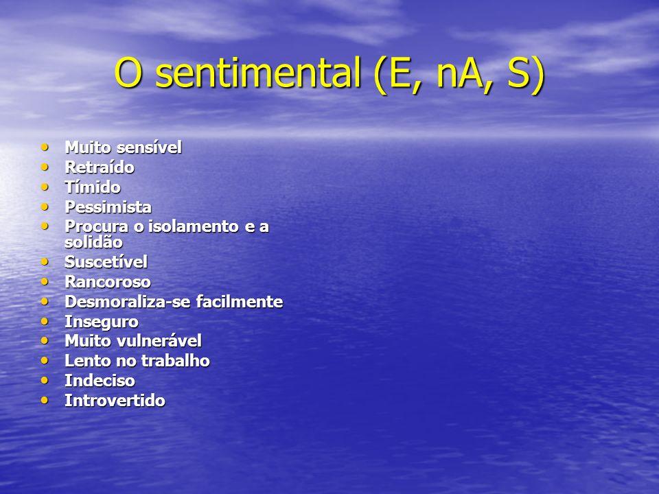 O sentimental (E, nA, S) Muito sensível Muito sensível Retraído Retraído Tímido Tímido Pessimista Pessimista Procura o isolamento e a solidão Procura