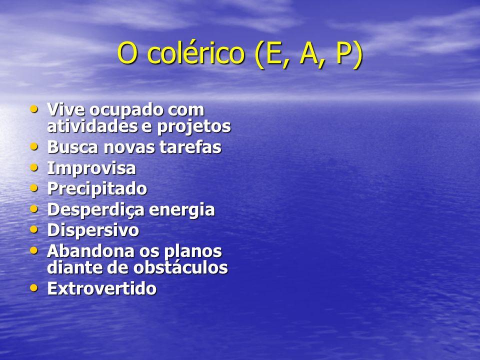 O colérico (E, A, P) Vive ocupado com atividades e projetos Vive ocupado com atividades e projetos Busca novas tarefas Busca novas tarefas Improvisa I