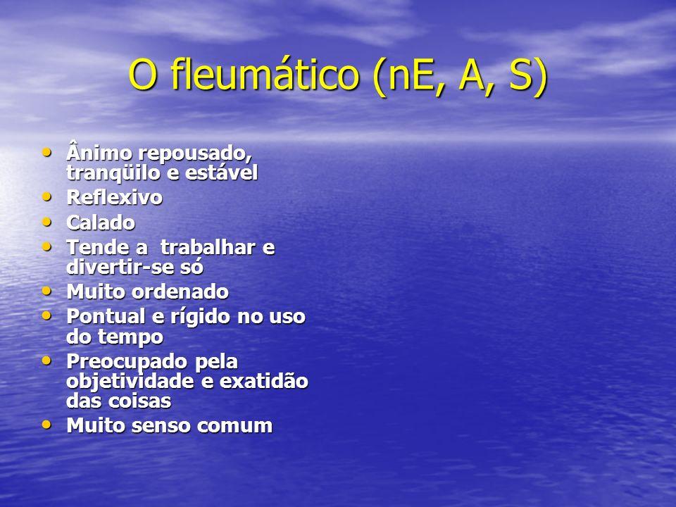 O fleumático (nE, A, S) Ânimo repousado, tranqüilo e estável Ânimo repousado, tranqüilo e estável Reflexivo Reflexivo Calado Calado Tende a trabalhar