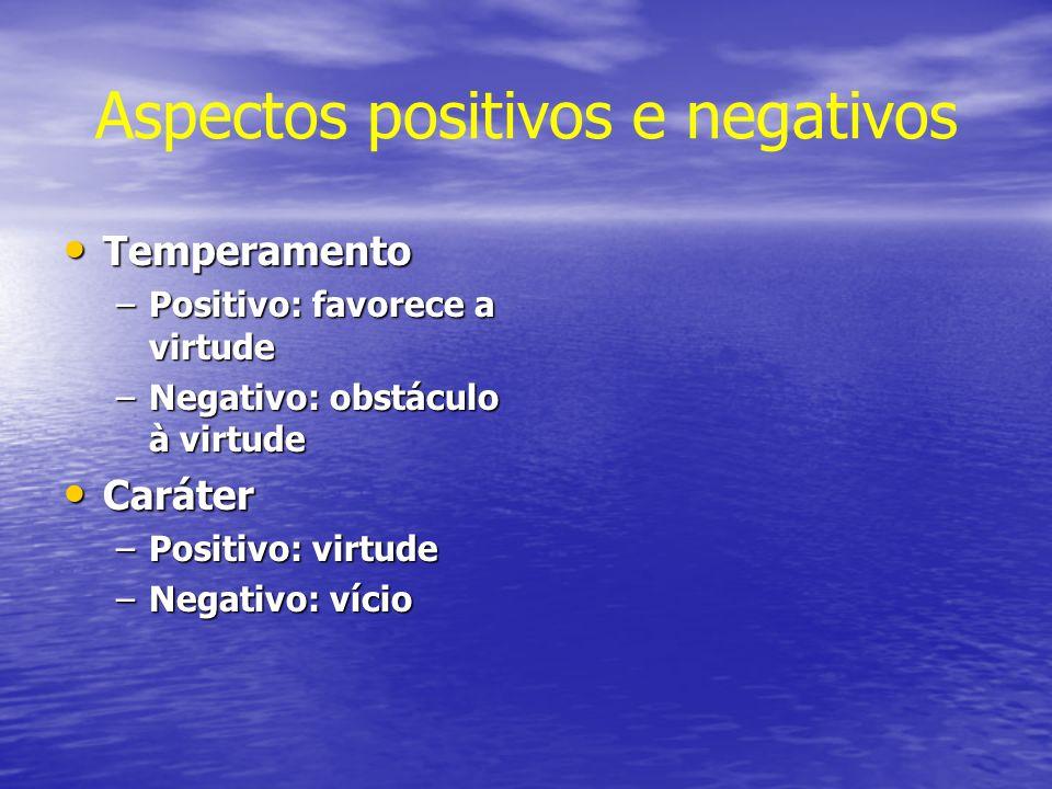 Aspectos positivos e negativos Temperamento Temperamento –Positivo: favorece a virtude –Negativo: obstáculo à virtude Caráter Caráter –Positivo: virtu