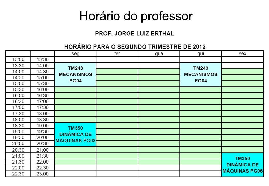 Horário do professor