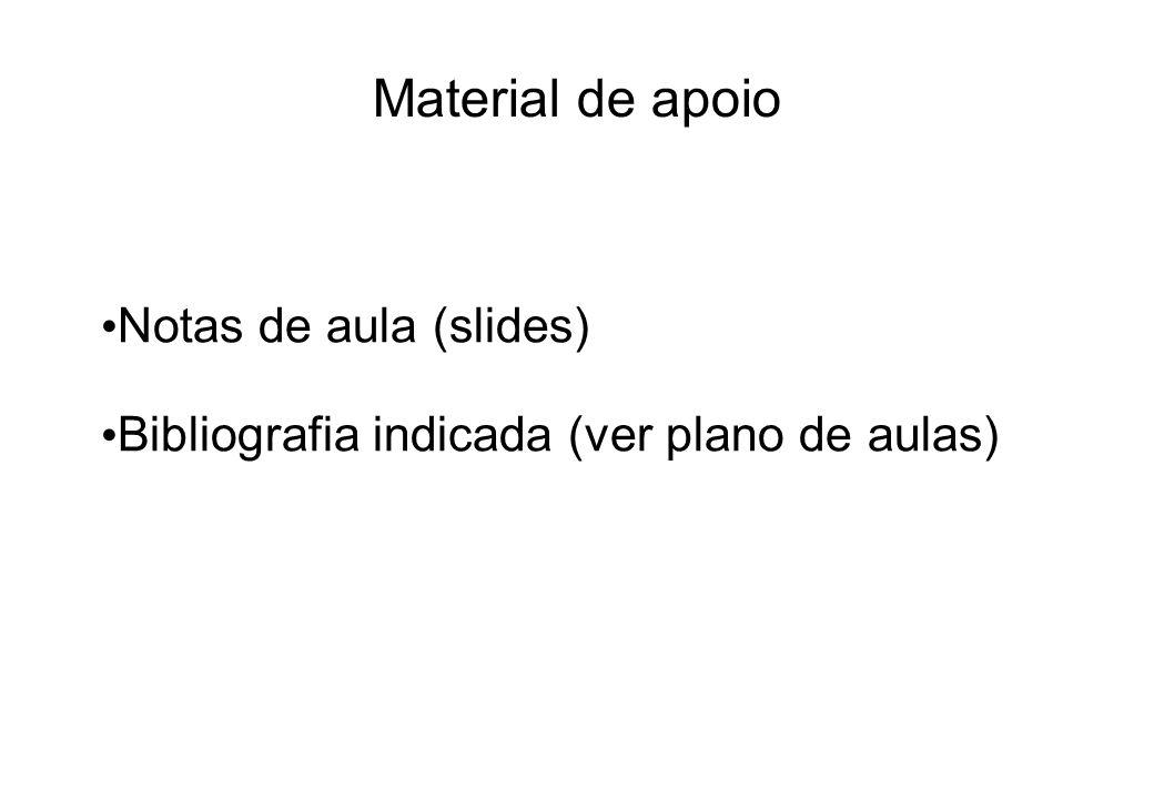 Material de apoio Notas de aula (slides) Bibliografia indicada (ver plano de aulas)