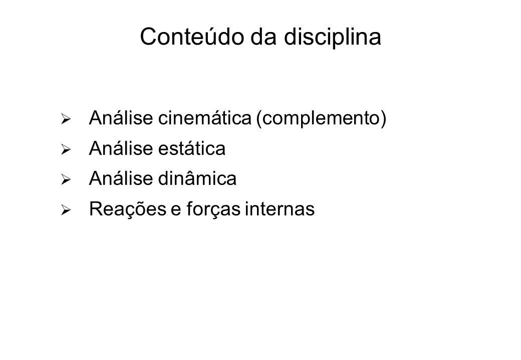 Conteúdo da disciplina Análise cinemática (complemento) Análise estática Análise dinâmica Reações e forças internas