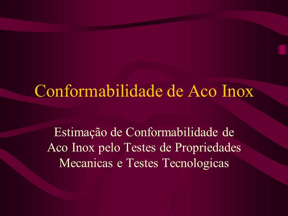 Conformabilidade de Aco Inox Estimação de Conformabilidade de Aco Inox pelo Testes de Propriedades Mecanicas e Testes Tecnologicas