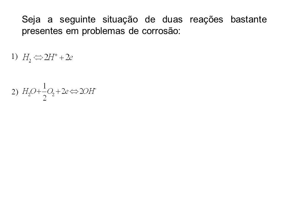 Seja a seguinte situação de duas reações bastante presentes em problemas de corrosão: 1) 2)