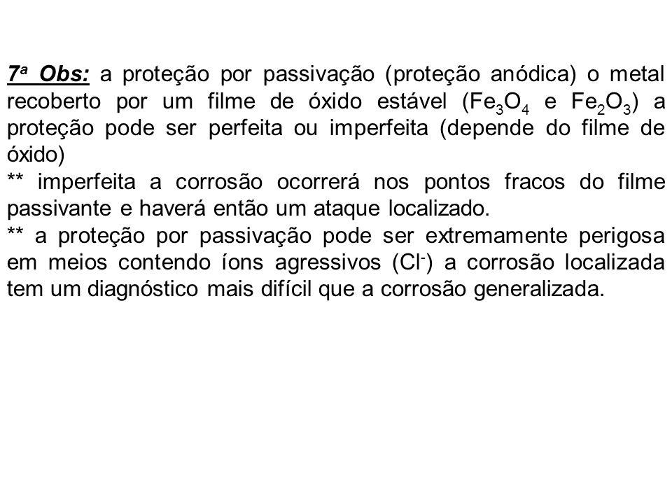 7 a Obs: a proteção por passivação (proteção anódica) o metal recoberto por um filme de óxido estável (Fe 3 O 4 e Fe 2 O 3 ) a proteção pode ser perfe