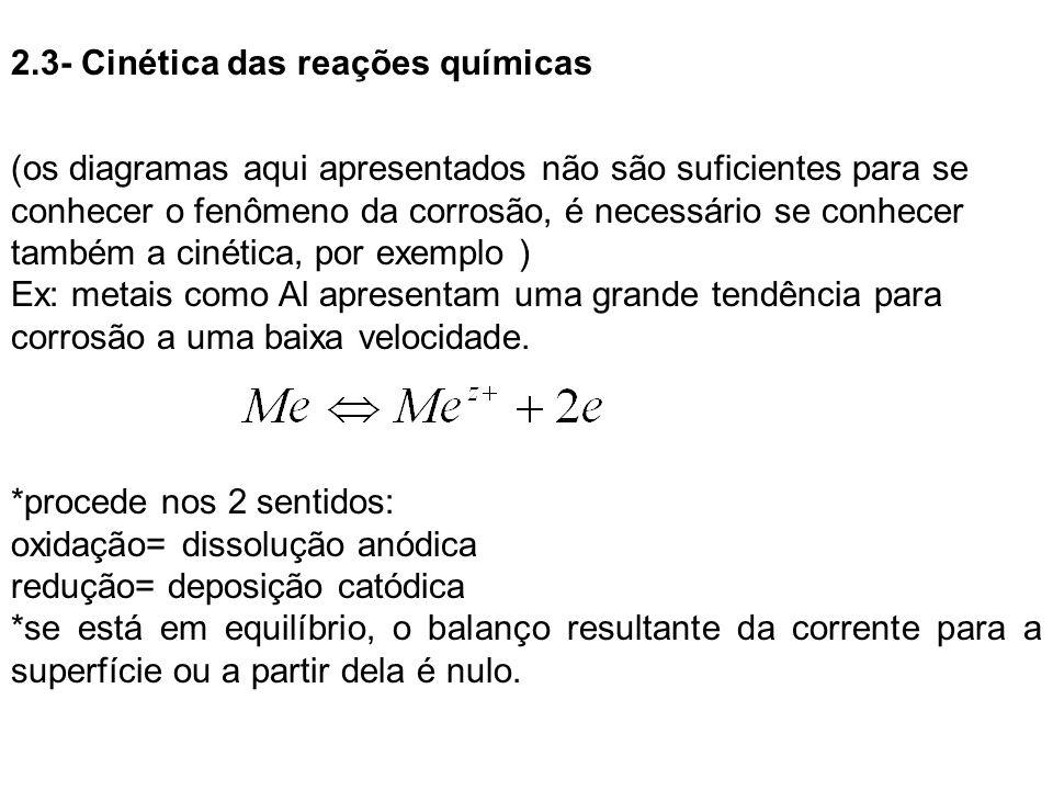 2.3- Cinética das reações químicas (os diagramas aqui apresentados não são suficientes para se conhecer o fenômeno da corrosão, é necessário se conhec
