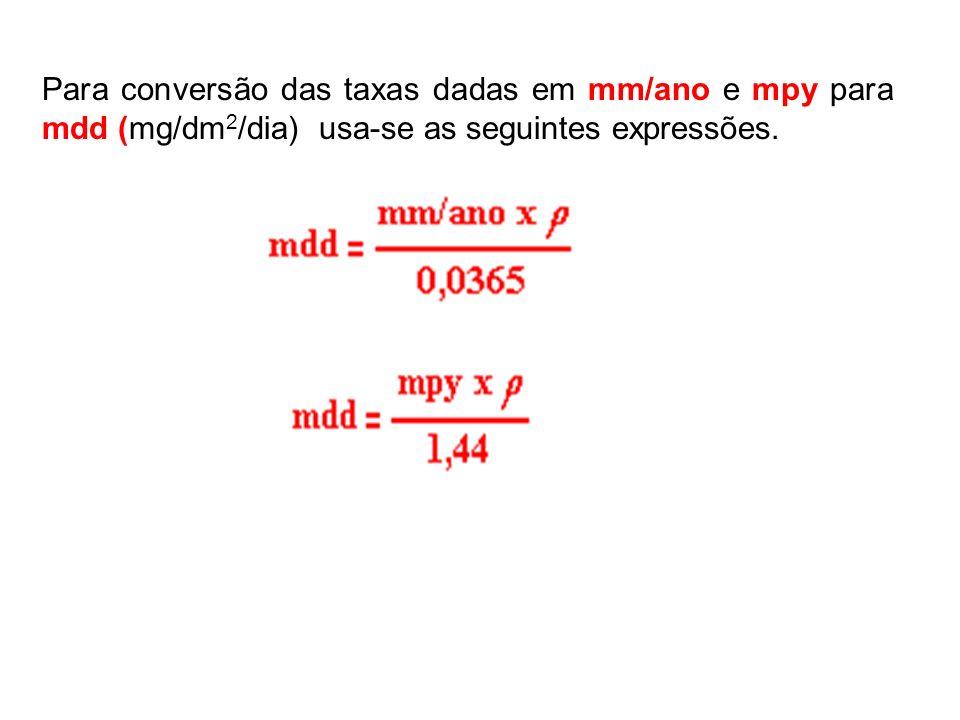 Para conversão das taxas dadas em mm/ano e mpy para mdd (mg/dm 2 /dia) usa-se as seguintes expressões.