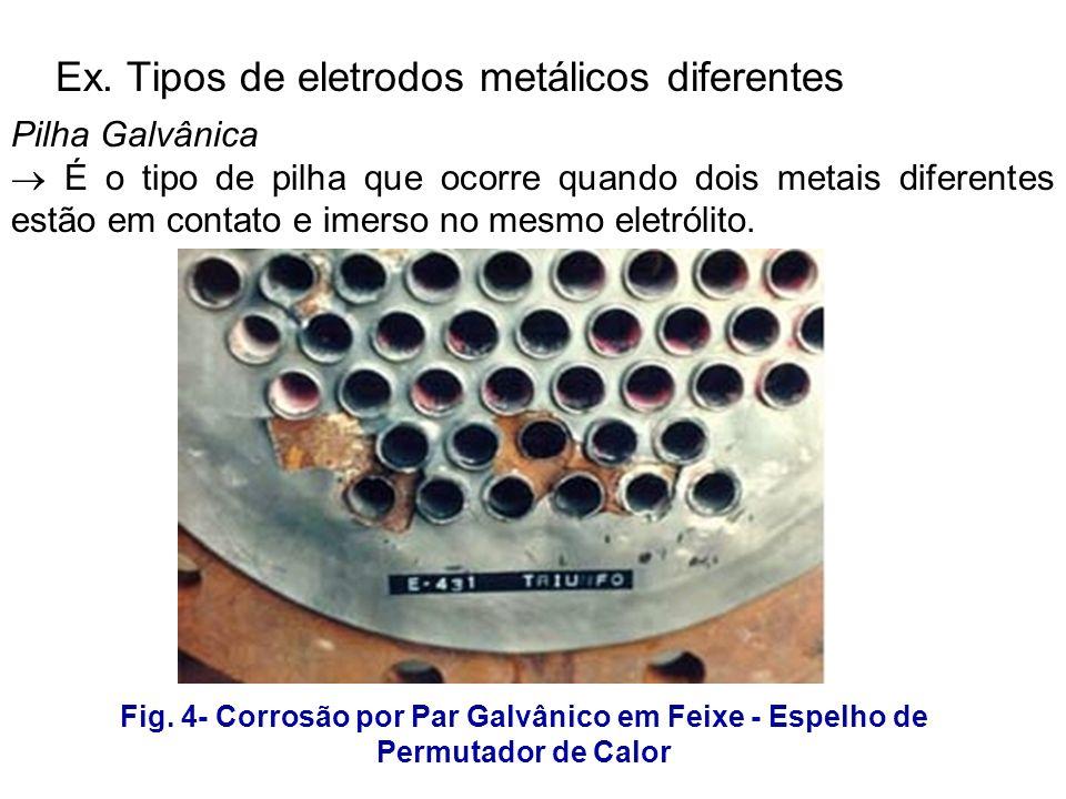 Ex. Tipos de eletrodos metálicos diferentes Pilha Galvânica É o tipo de pilha que ocorre quando dois metais diferentes estão em contato e imerso no me