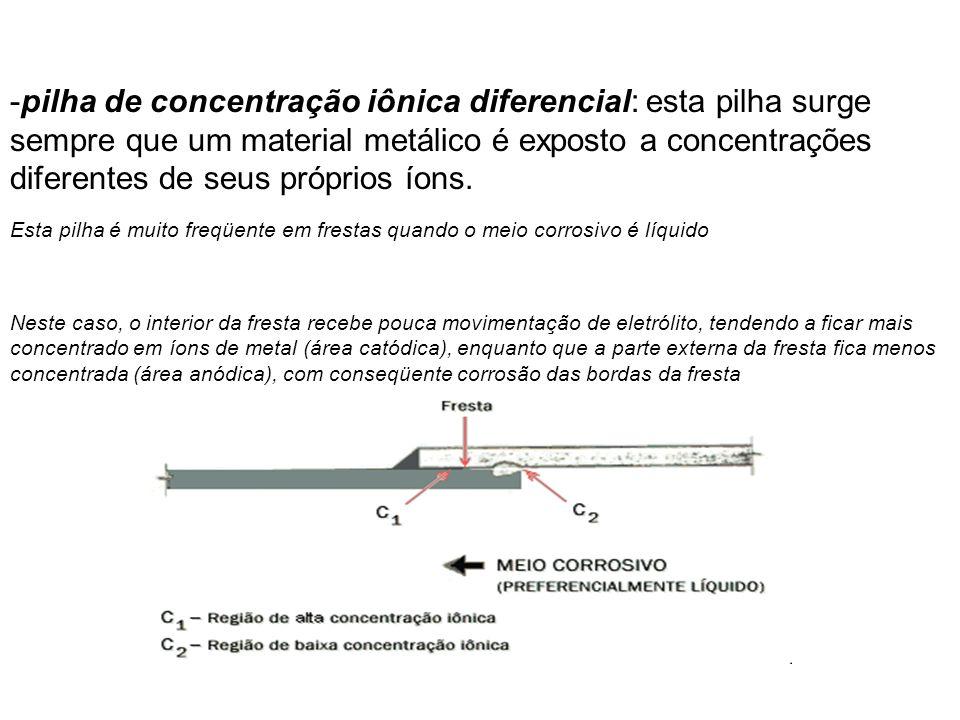 -pilha de concentração iônica diferencial: esta pilha surge sempre que um material metálico é exposto a concentrações diferentes de seus próprios íons