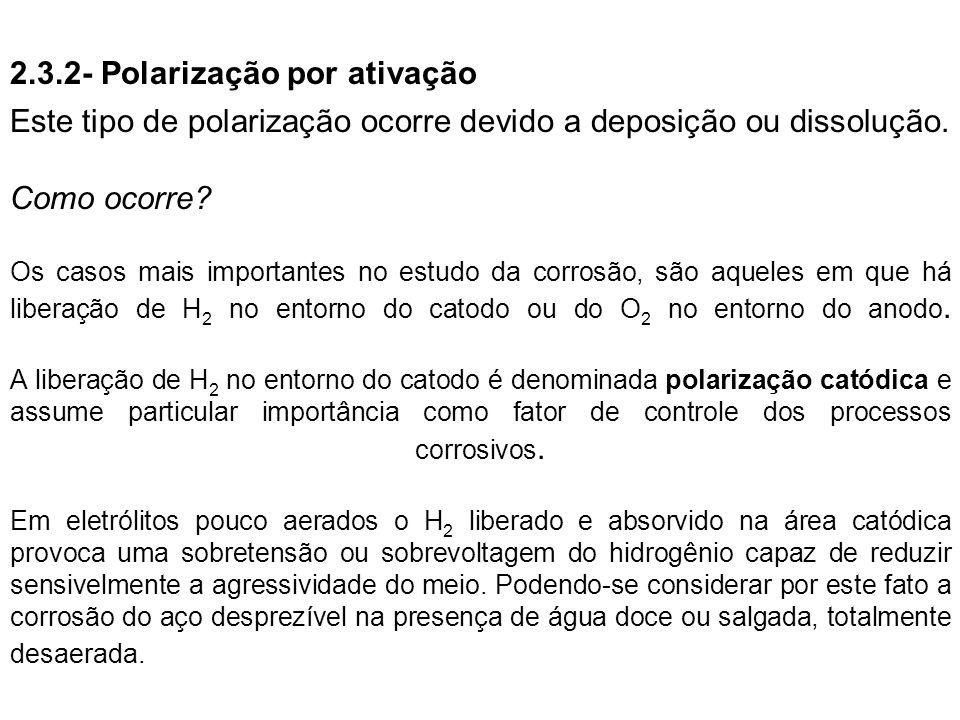 2.3.2- Polarização por ativação Este tipo de polarização ocorre devido a deposição ou dissolução. Como ocorre? Os casos mais importantes no estudo da