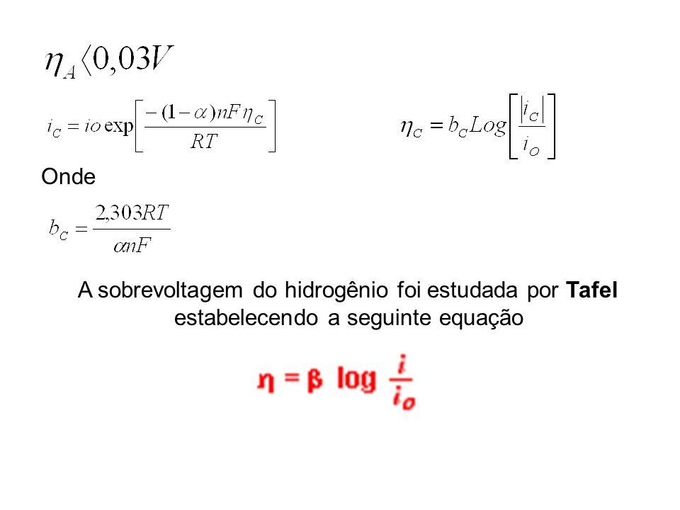 A sobrevoltagem do hidrogênio foi estudada por Tafel estabelecendo a seguinte equação