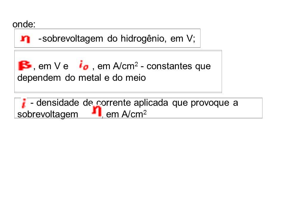 onde: - sobrevoltagem do hidrogênio, em V;, em V e, em A/cm 2 - constantes que dependem do metal e do meio - densidade de corrente aplicada que provoq