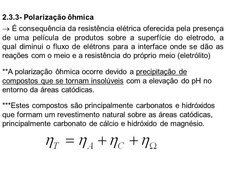 2.3.3- Polarização ôhmica É consequência da resistência elétrica oferecida pela presença de uma película de produtos sobre a superfície do eletrodo, a