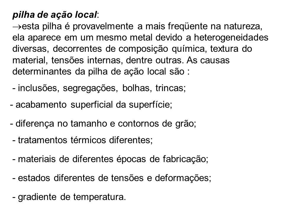 pilha de ação local: esta pilha é provavelmente a mais freqüente na natureza, ela aparece em um mesmo metal devido a heterogeneidades diversas, decorr