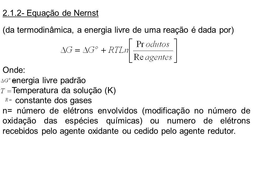 2.1.2- Equação de Nernst (da termodinâmica, a energia livre de uma reação é dada por) Onde: energia livre padrão Temperatura da solução (K) constante