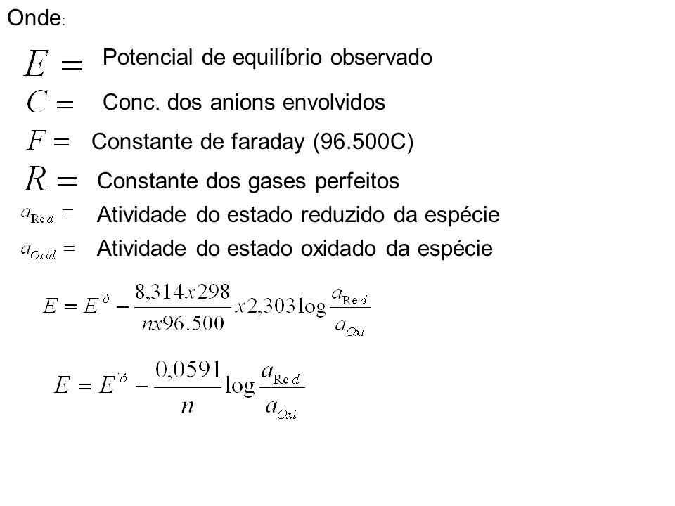 Onde : Potencial de equilíbrio observado Conc. dos anions envolvidos Constante de faraday (96.500C) Constante dos gases perfeitos Atividade do estado