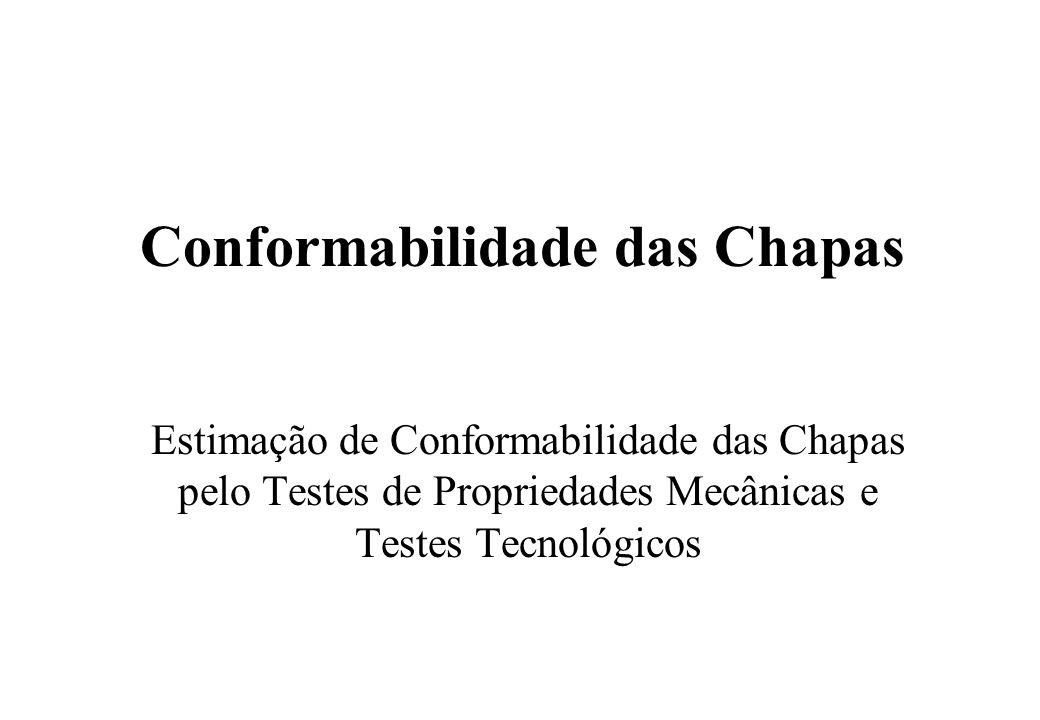 Conformabilidade das Chapas Estimação de Conformabilidade das Chapas pelo Testes de Propriedades Mecânicas e Testes Tecnológicos