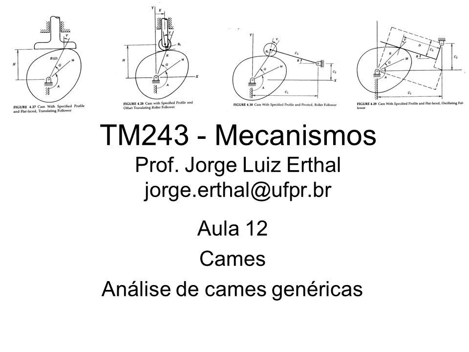 TM243 - Mecanismos Prof. Jorge Luiz Erthal jorge.erthal@ufpr.br Aula 12 Cames Análise de cames genéricas