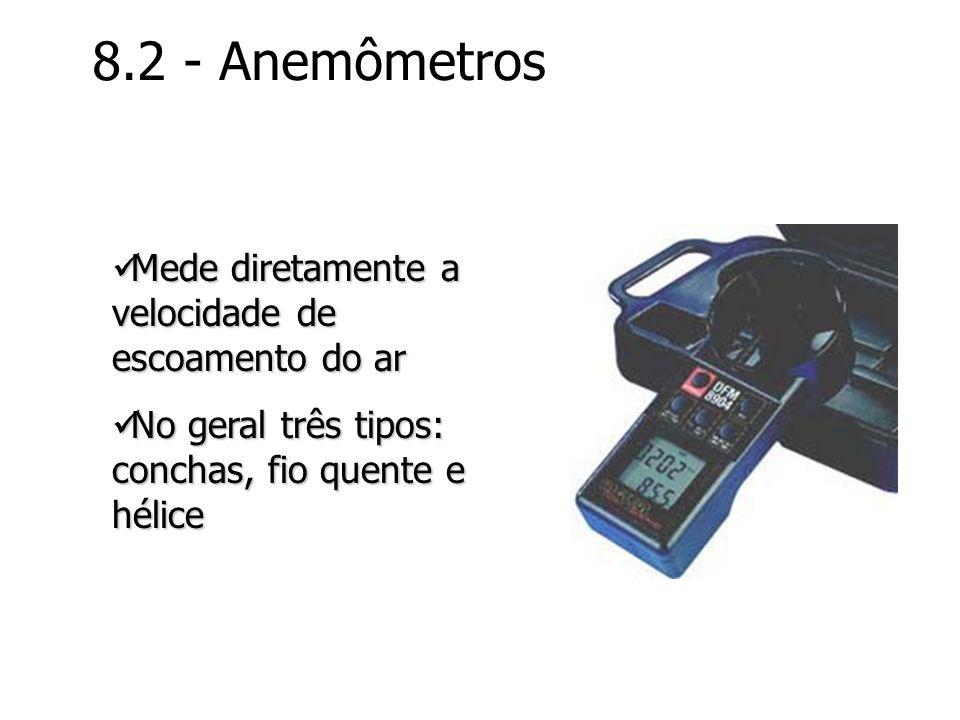 8.2 - Anemômetros Mede diretamente a velocidade de escoamento do ar Mede diretamente a velocidade de escoamento do ar No geral três tipos: conchas, fi