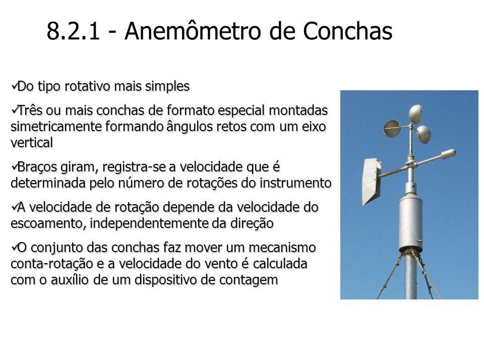 8.2.1 - Anemômetro de Conchas Do tipo rotativo mais simples Do tipo rotativo mais simples Três ou mais conchas de formato especial montadas simetricam