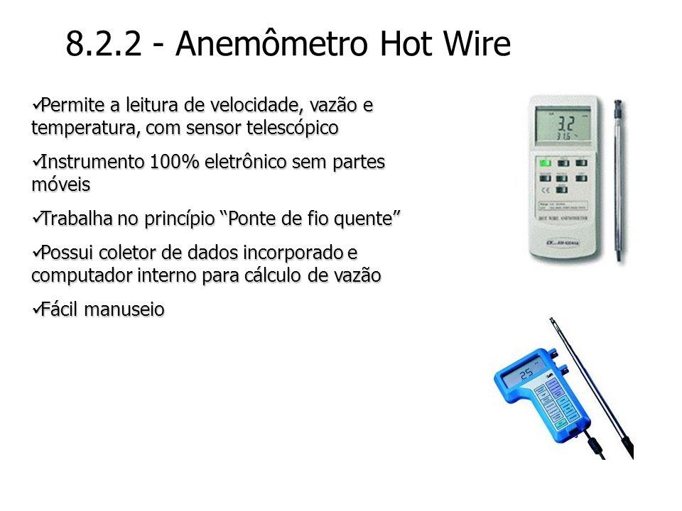 8.2.2 - Anemômetro Hot Wire Permite a leitura de velocidade, vazão e temperatura, com sensor telescópico Permite a leitura de velocidade, vazão e temp