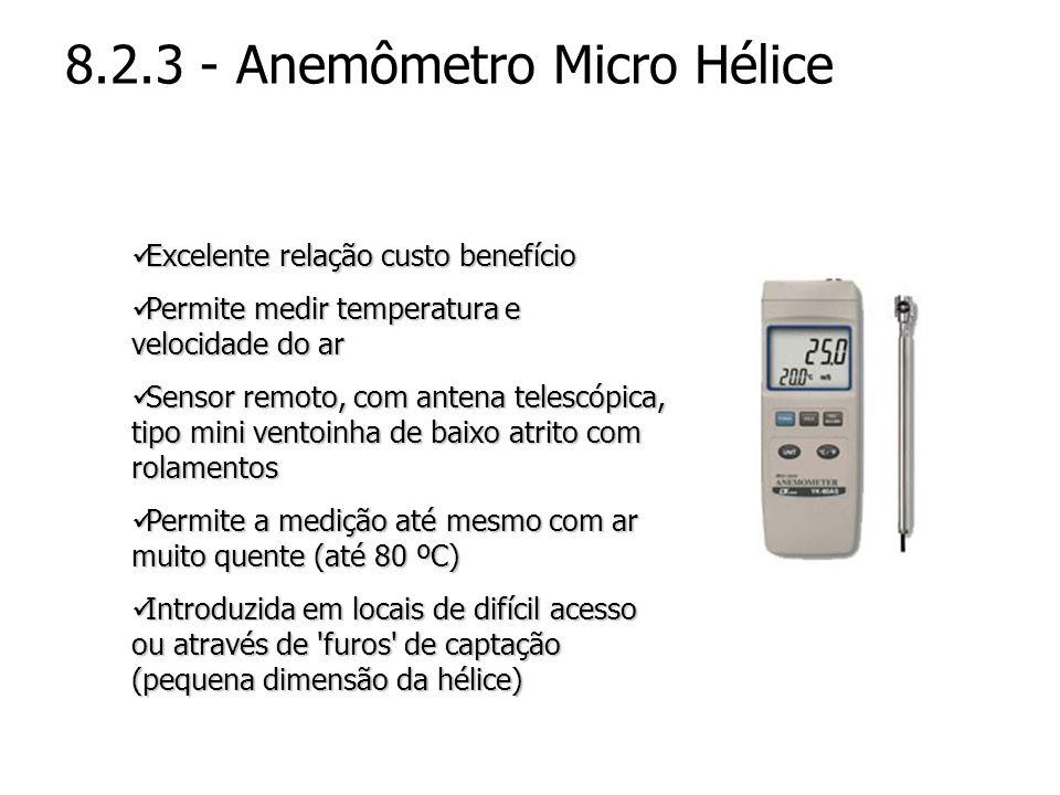 8.2.3 - Anemômetro Micro Hélice Excelente relação custo benefício Excelente relação custo benefício Permite medir temperatura e velocidade do ar Permi