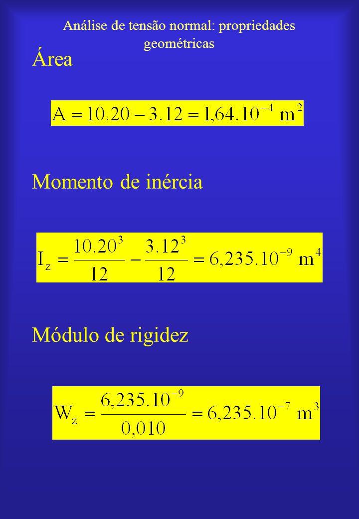 Análise de tensão normal: propriedades geométricas Área Momento de inércia Módulo de rigidez
